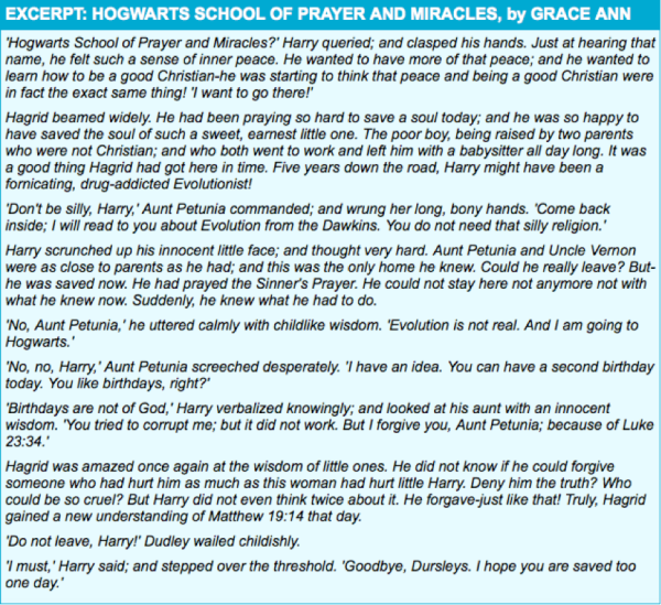 An excerpt from Hogwarts School of Prayer and Miracles by Grace Ann.