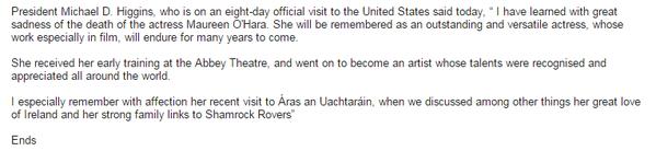 A response to O'Hara's passing from Uactarán na hÉiireann, Michael D. Higgins