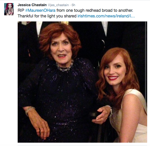 Academy Award nominee Jessica Chasten, pictured here with O'Hara on the evening she received her honorary Oscar, tweeted about the star's passing