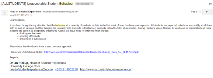 The email sent by Dr. Ian Pickup, Head of Student Experience, in regard to unruly student behaviour.