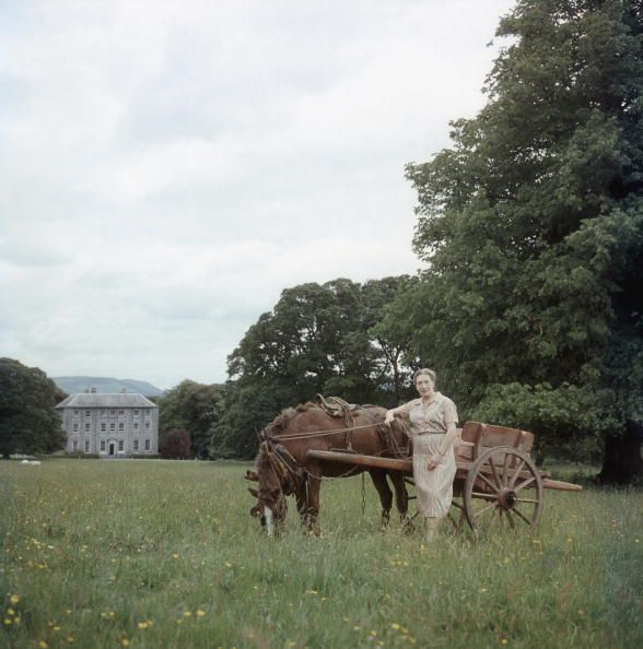 Elizabeth Bowen stands with a horse and cart before her beloved family seat, Bowen's Court. Bowen was forced to sell the property due to financial struggles, and the house was soon demolished with little protestation from the Government.