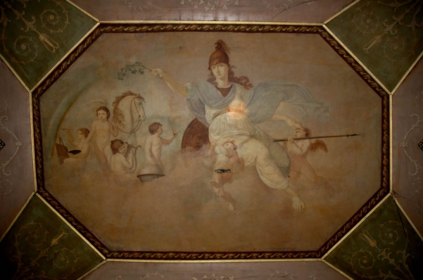 An example of one of the paintings by Nathaniel Grogan on one of the ceilings of Vernon Mount. When last examined these works were beginning to succumb to deterioration. It is assumed that they have been completely destroyed in the fire.